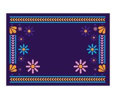 tapete mexicano com moldura floral vetor