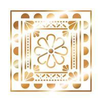 ícone mexicano de uma flor com cor dourada