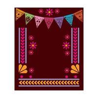 tapete vermelho mexicano com moldura floral vetor