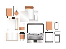 maquete laptop tablet smartphone e design de identidade corporativa vetor