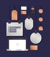 laptop e design de cenário de maquete de marca vetor