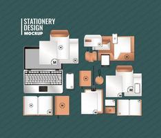 laptop e design de cenário de maquete de marca