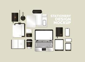 conjunto de maquete com design de marca preta vetor