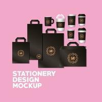 maquete de bolsas e canecas com marca marrom escuro