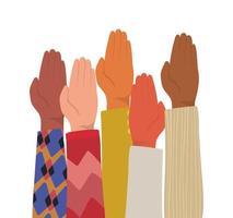 palma da mão fechada de diferentes tipos de peles