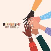 peles diferentes, mas iguais e de diversidade, mãos tocando