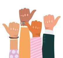 como um sinal com as mãos de diferentes tipos de peles