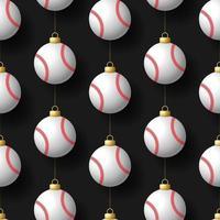 enfeites de beisebol pendurados natal padrão sem emenda vetor