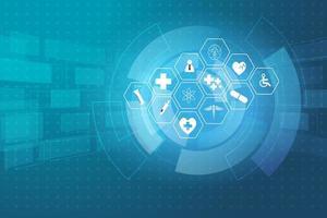 ícones da ciência médica no fundo abstrato da tecnologia