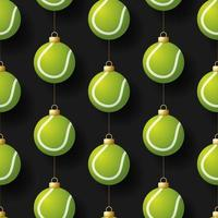 enfeites de bola de tênis pendurados natal padrão sem emenda vetor