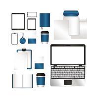 conjunto de maquete com design de marca azul