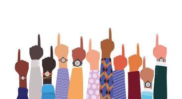 sinal número um com mãos de diferentes tipos de peles vetor