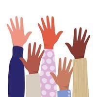 abra as mãos de diferentes tipos de peles