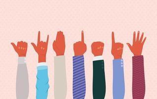 mãos para cima de diferentes tipos de desenho vetorial de skins