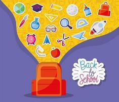 bolsa com conjunto de ícones de volta às aulas