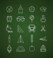 conjunto de ícones de giz de volta ao conselho escolar