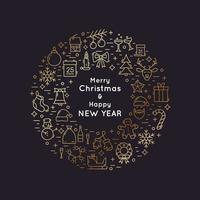 coroa de ícones de linha dourada de Natal e ano novo vetor