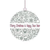 Natal e ano novo ícone de linha bola de Natal.