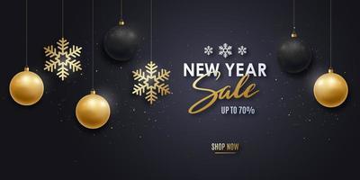 banner de venda de ano novo com enfeites e flocos de neve