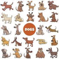 conjunto grande de personagens de cães engraçados de desenho animado vetor