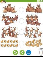 maior menor ou igual tarefa educacional com cães vetor