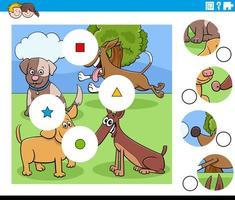 combinar peças de quebra-cabeça com personagens de desenhos animados vetor