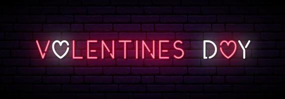 longo banner de néon para o dia dos namorados. vetor