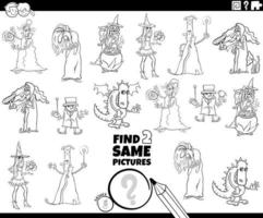 encontrar dois mesmos personagens de fantasia página de livro de cores vetor
