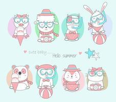 desenhados à mão animais fofos bebês com fundos coloridos