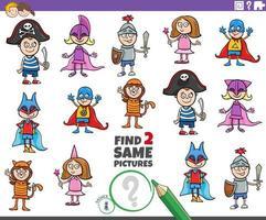 encontrar duas tarefas de personagens infantis iguais vetor