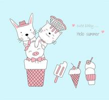 desenho de animais fofos bebês com sorvete