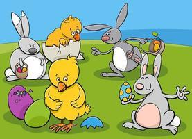 grupo de personagens da páscoa vetor