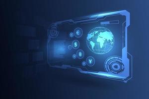 fundo de transferência de dinheiro global de alta tecnologia vetor