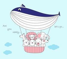 Desenho de animais fofos em balão de ar de baleia