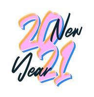 desenhado à mão texto colorido de ano novo de 2021 vetor