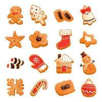 conjunto de biscoitos de natal super fofos de gengibre