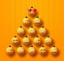 árvore de natal criativa feita de bolas de bugigangas emoji
