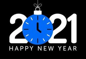 2021 saudação de ano novo com enfeite de relógio azul vetor
