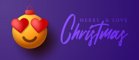 cartão de feliz natal com ornamento emoji de olho de coração