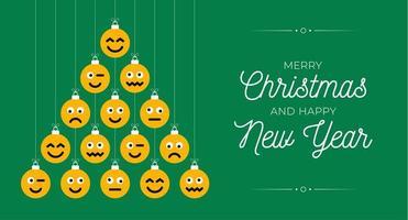 árvore de natal criativa feita de enfeites de emoji de rosto vetor