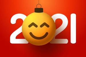 2021 saudação de ano novo com ornamento sorridente de rosto emoji