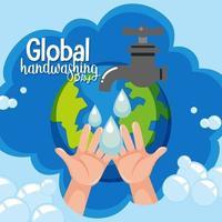 logotipo global do dia de lavagem de mãos com água da torneira e fundo do globo vetor