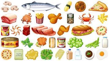 conjunto de comida isolado vetor