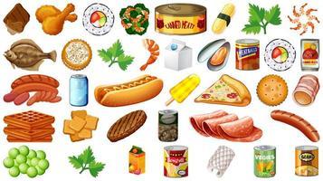 conjunto de comida isolado