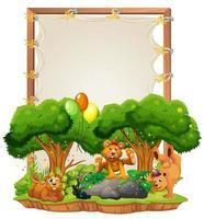 modelo de moldura de madeira de lona com ursos em tema de festa isolado vetor
