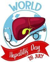 logotipo ou banner do dia mundial da hepatite com fígado e estetoscópio na terra
