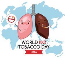 logotipo do dia mundial sem tabaco com pulmões diferentes no fundo do mapa mundial vetor