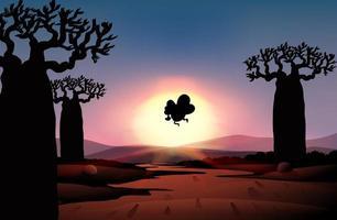 silhueta da natureza ao ar livre cena do pôr do sol