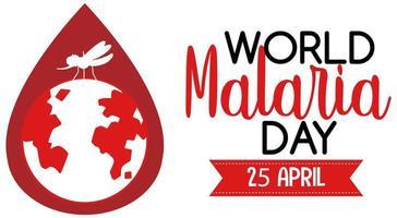 logotipo do dia mundial da malária ou banner com mosquito e a terra no fundo de gota de sangue vetor