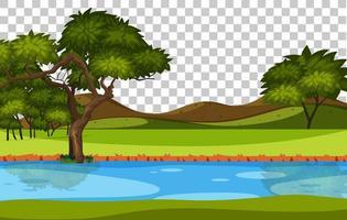 paisagem em branco parque natural paisagem rio em fundo transparente vetor